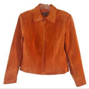 REVUE Suede Leather Jacket Autumn Orange